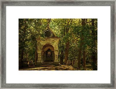 Shaded Chapel. Golden Green Series Framed Print by Jenny Rainbow