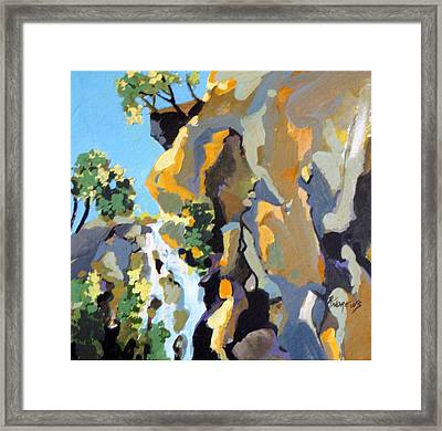 Shades Of Blue And Gold Framed Print