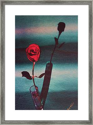 Shadow Of A Red Rose Framed Print