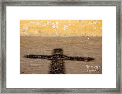 Shadow Of Cross Framed Print by Jeremy Woodhouse