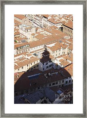 Shadow Of The Duomo On Buildings Of Florence Framed Print