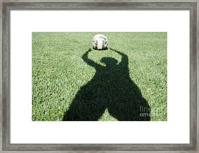 Shadow Playing Football Framed Print