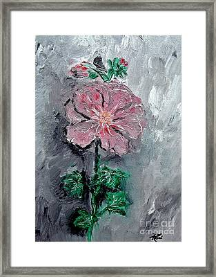 Framed Print featuring the painting Shadowed Petals by Ayasha Loya