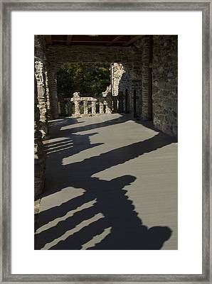 Shadows Cast On The Porch Of Gillette Framed Print by Todd Gipstein