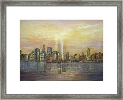 shadows of the New York towers Framed Print