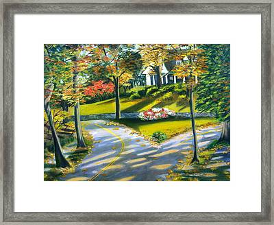 Shadows On The Road Framed Print