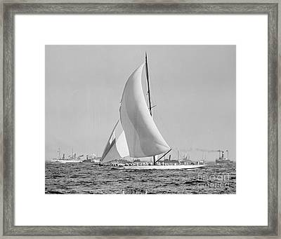 Shamrock IIi At The Americas Cup Finish 1903 Framed Print