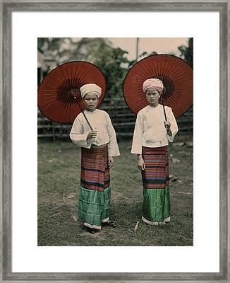 Shan Women Wearing Traditional Colorful Framed Print by W. Robert Moore