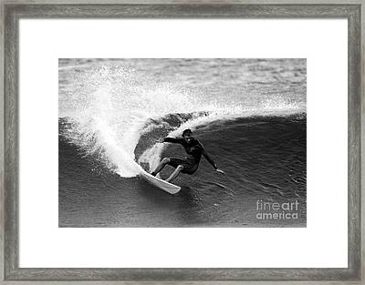 Shane Surf Carving In Black And White Framed Print by Paul Topp