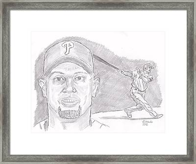 Framed Print featuring the drawing Shane Victorino- Flying Hawaiian by Chris  DelVecchio