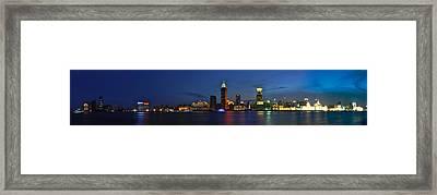 Shanghai Bund Panorama - Night Framed Print