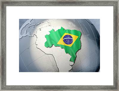 Shape And Ensign Of Brazil On A Globe Framed Print