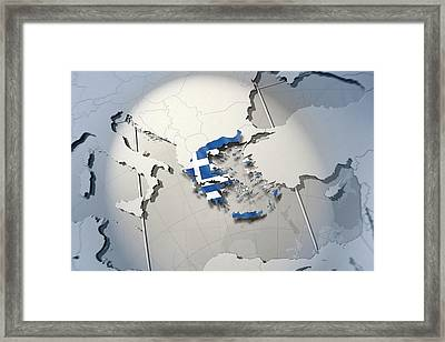 Shape And Ensign Of Greece On A Globe Framed Print by Dieter Spannknebel