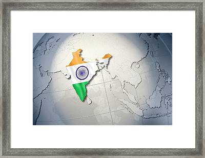 Shape And Ensign Of India On A Globe Framed Print