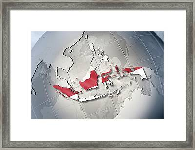 Shape And Ensign Of Indonesia On A Globe Framed Print
