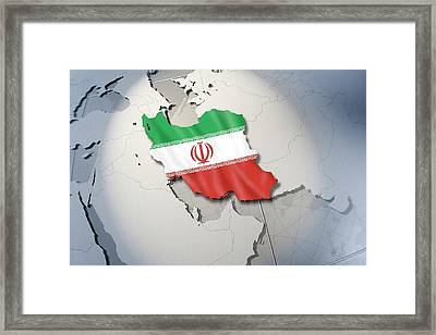 Shape And Ensign Of Iran On A Globe Framed Print by Dieter Spannknebel