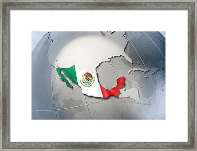 Shape And Ensign Of Mexico On A Globe Framed Print by Dieter Spannknebel