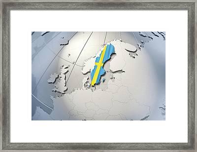 Shape And Ensign Of Sweden On A Globe Framed Print by Dieter Spannknebel