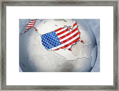 Shape And Ensign Of The Usa On A Globe Framed Print