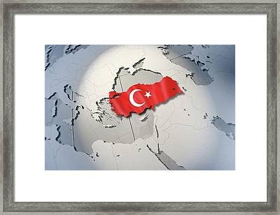 Shape And Ensign Of Turkey On A Globe Framed Print by Dieter Spannknebel