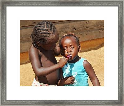 Sharing Framed Print by Danielle Del Prado