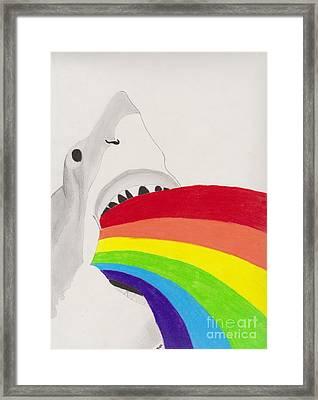 Shark Rainbow Framed Print by Christopher Jones