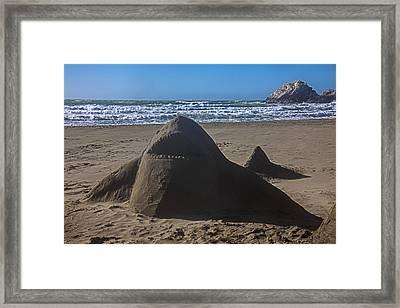 Shark Sand Sculpture Framed Print