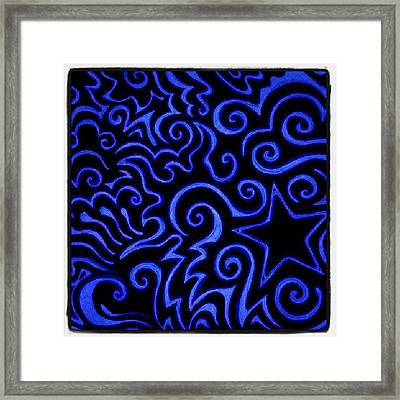 #sharpie #sharpiemarker #blue #heart Framed Print