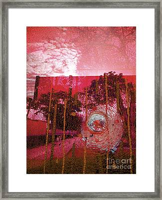 Framed Print featuring the photograph Abstract Shattered Glass Red by Andy Prendy
