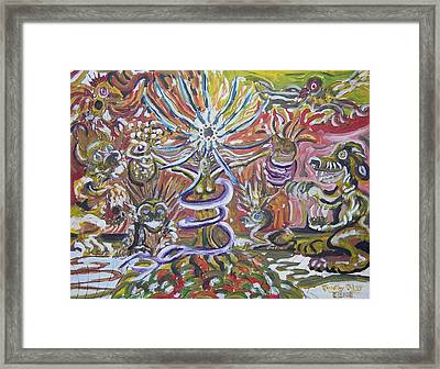 She Holds So Many Pearls And Horns Framed Print by Timothy  Foley