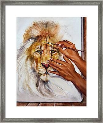 She Paints Him  Framed Print by Martin Katon