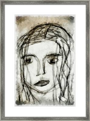 She Sat Alone 2 Framed Print by Angelina Vick