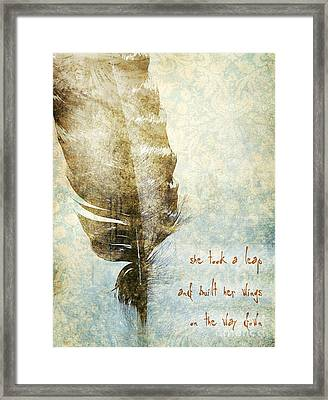 She Took A Leap Framed Print by HD Connelly