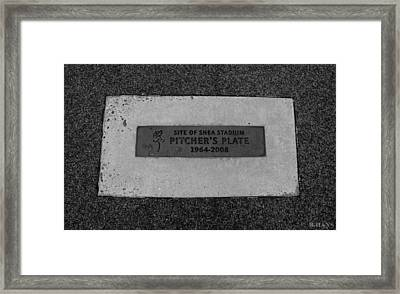 Shea Stadium Pitchers Mound In Black And White Framed Print by Rob Hans