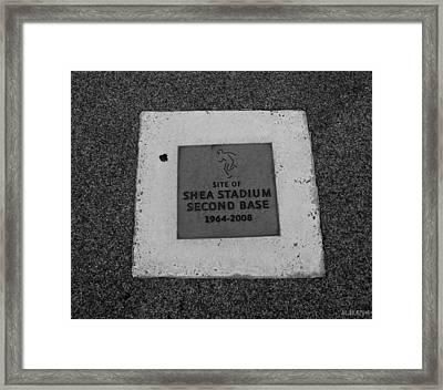 Shea Stadium Second Base Framed Print by Rob Hans