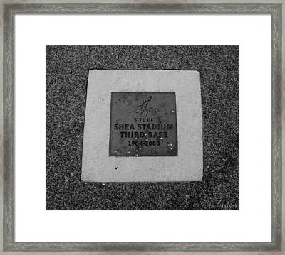 Shea Stadium Third Base In Black And White Framed Print by Rob Hans