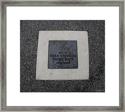 Shea Stadium Third Base Framed Print by Rob Hans