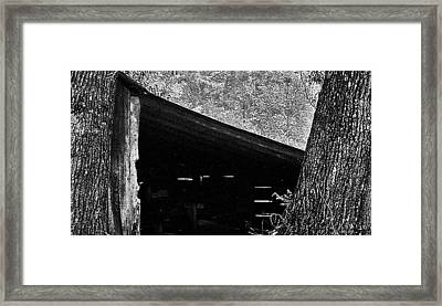 Framed Print featuring the photograph Shed Between Two Oaks Near Alexandria by Louis Nugent