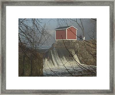 Shed By The Dam In Fog Framed Print