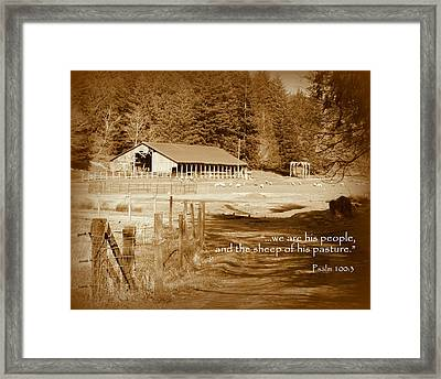 Sheep Grazing By Barn Scripture Framed Print