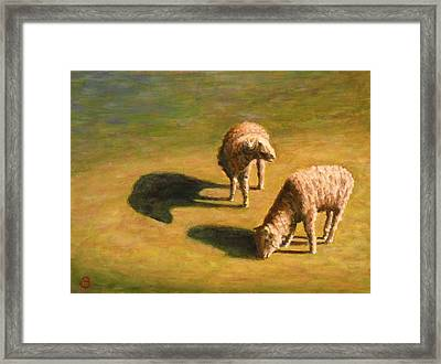 Framed Print featuring the painting Sheep Shapes Two  by Joe Bergholm