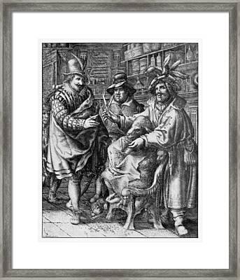 Sheep Shearing, Satirical Artwork Framed Print by
