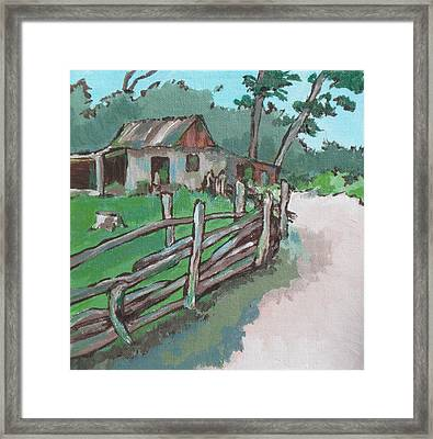 Sheep Sheering Shed Framed Print by Sandy Tracey