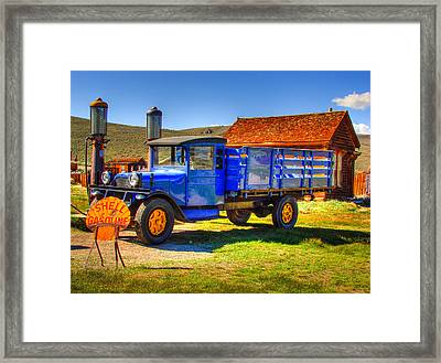 Shell Gas Station And Blue Truck In Bodie Ghost Town Framed Print