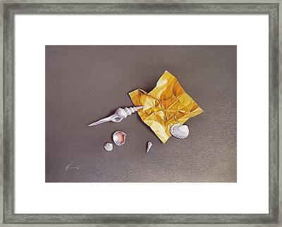 Shells Of The Day Framed Print by Elena Kolotusha
