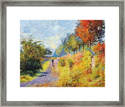 Sheltered Path - Sur Les Traces De Monet Framed Print by David Lloyd Glover