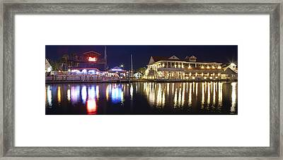 Shem Creek By Night - Panoramic Framed Print by Donni Mac