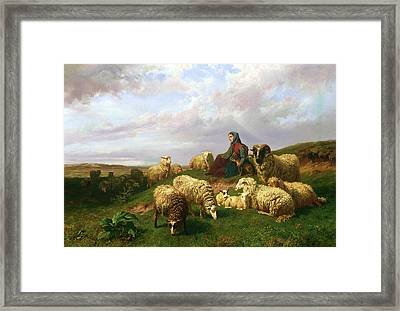 Shepherdess Resting With Her Flock Framed Print