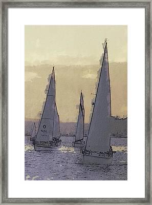 Shilshoe Marina Races 2 Framed Print by Arthur Kuntz