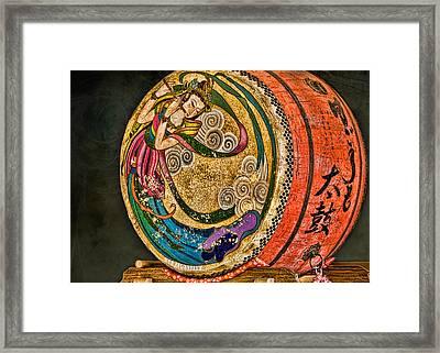 Shinto Drum Framed Print by Karen Walzer